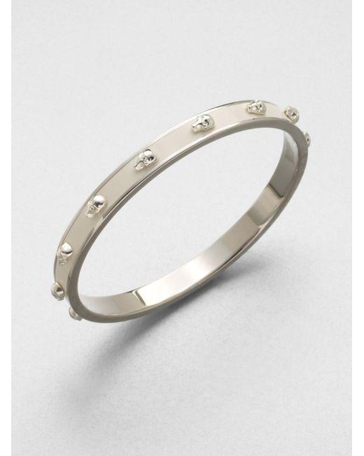 Alexander McQueen | White 3d Enamel Skull Small Bangle Bracelet/silvertone | Lyst