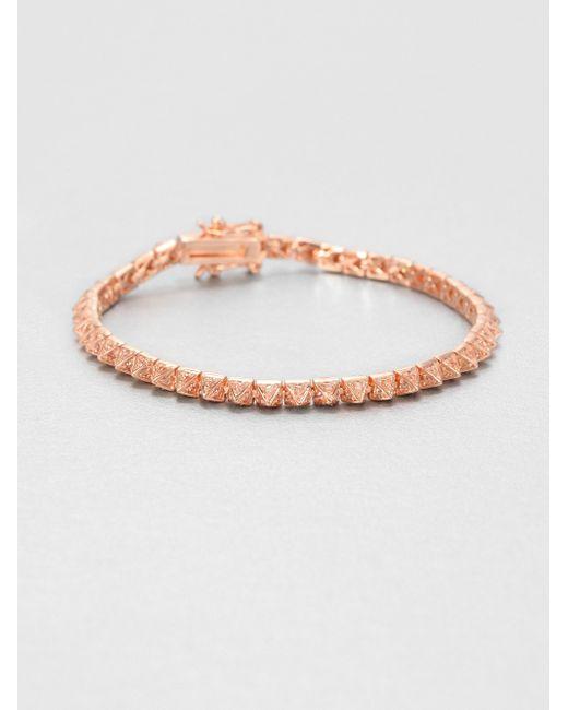 Eddie Borgo | Pink Pave Crystal Pyramid Tennis Bracelet/rose Goldtone | Lyst