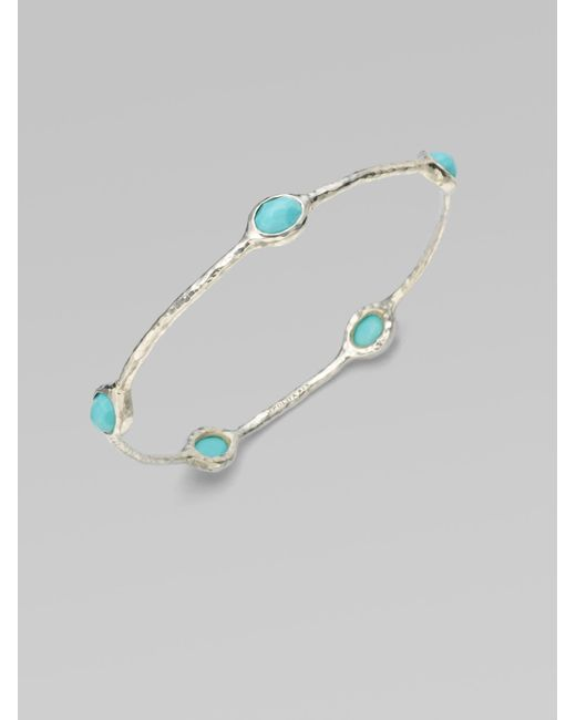 Ippolita | Blue Rock Candy Turquoise & Sterling Silver Five-stone Bangle Bracelet | Lyst