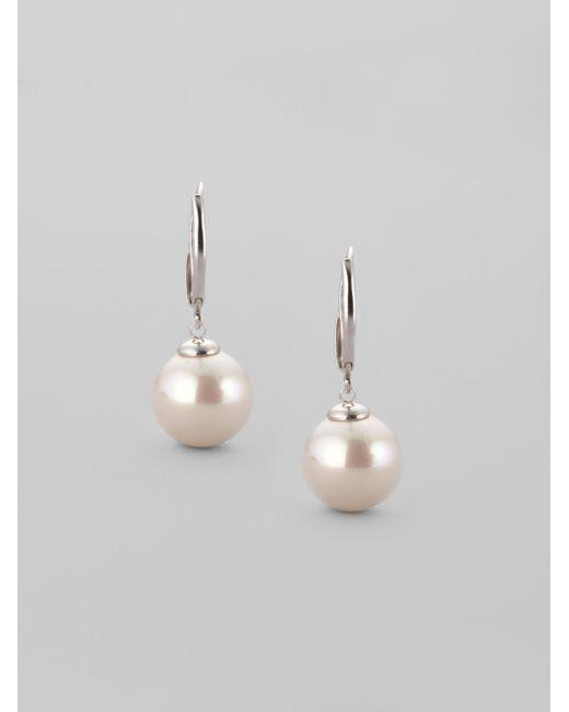 Majorica | 12mm White Pearl Drop Earrings | Lyst