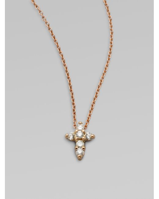 Roberto Coin | Metallic Tiny Treasures Diamond & 18k Rose Gold Mini Cross Pendant Necklace | Lyst