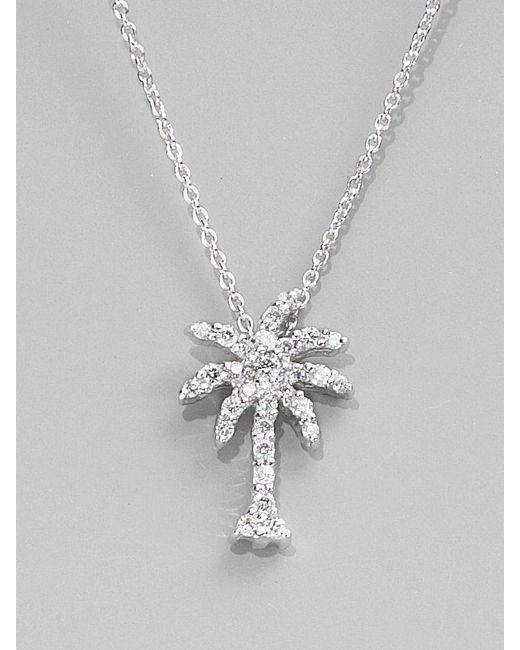 Roberto Coin | Tiny Treasures Diamond & 18k White Gold Palm Tree Pendant Necklace | Lyst