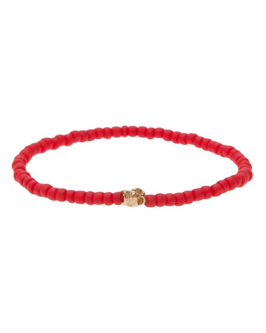 Luis Morais | Red Glass Bead Gold Charm Embellished Bracelet for Men | Lyst