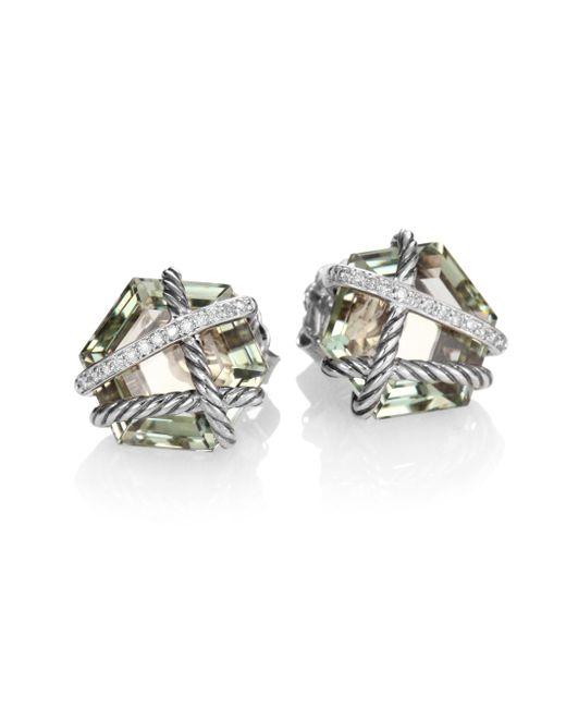 David Yurman | Metallic Cable Wrap Earrings With Prasiolite And Diamonds, 10mm | Lyst