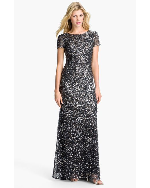 Adrianna Papell Short-sleeve Sequined Long Skirt Gown In