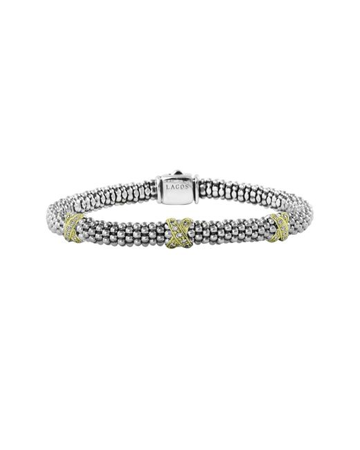Lagos   Metallic 18k Gold And Sterling Silver Rope Bracelet   Lyst