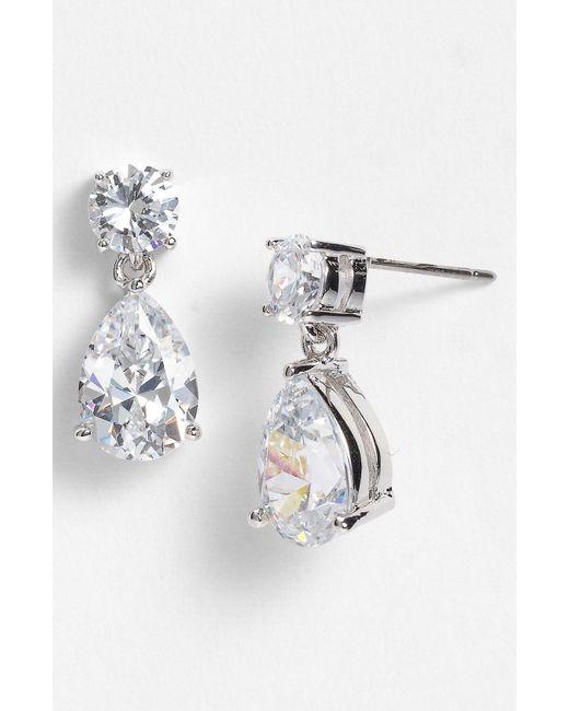 Nadri | Metallic Cubic Zirconia Teardrop Earrings | Lyst