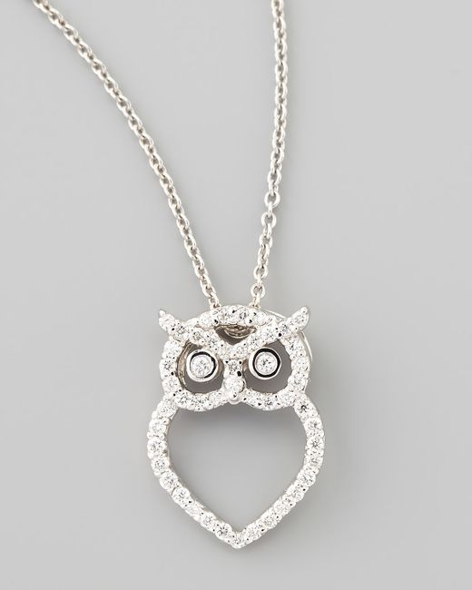 Roberto Coin 18k White Gold Diamond Owl Necklace In White