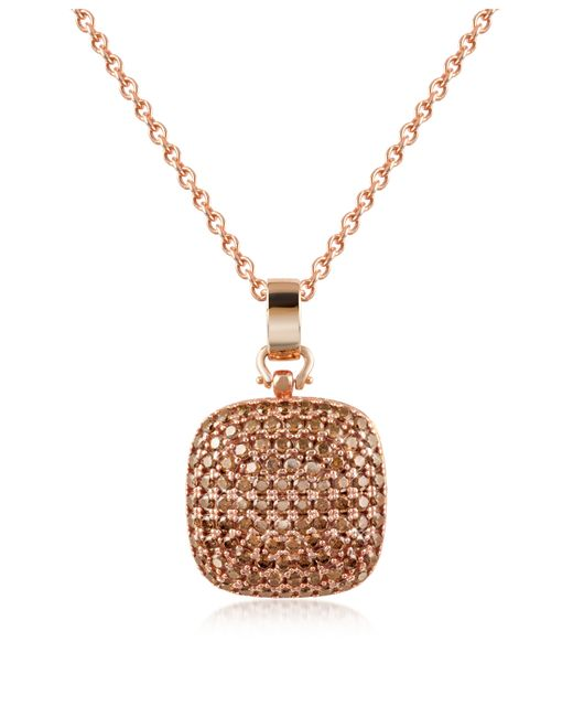 Azhar   Pink Cubic Zirconia And Sterling Silver Square Pendant Necklace   Lyst