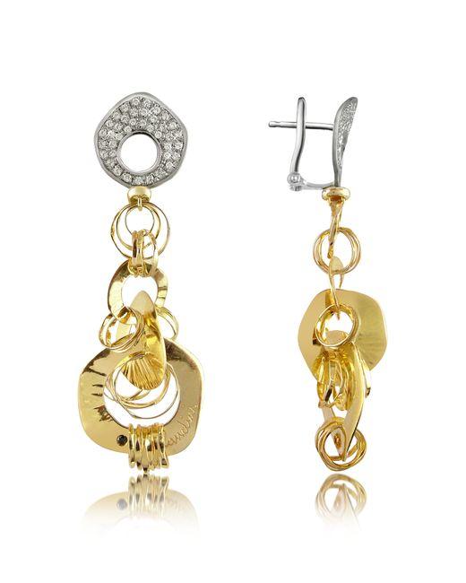 Orlando Orlandini | White Fashion - Diamond 18k Two-tone Gold Drop Earrings | Lyst