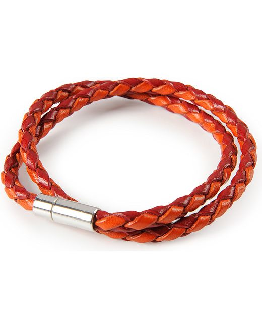 Tateossian | Red Silver Pop Scoubidou Leather Bracelet for Men | Lyst
