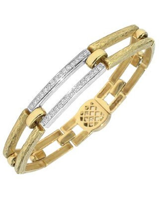 Torrini | Metallic Beatrice - Gold And Diamond Rectangular Link Bracelet | Lyst