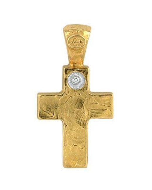 Torrini | 18k Yellow Gold Cross With Diamond | Lyst