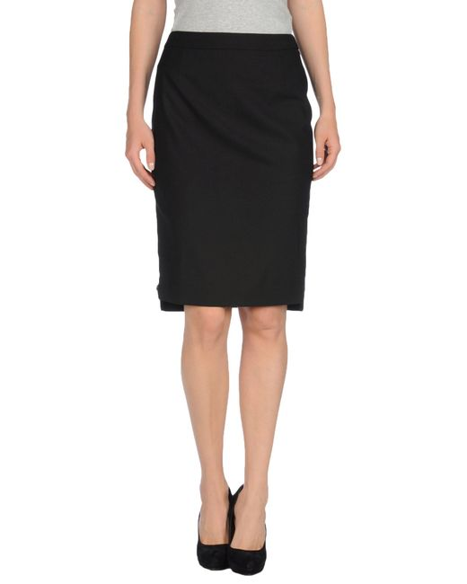 Elie Tahari | Black Knee Length Skirt | Lyst
