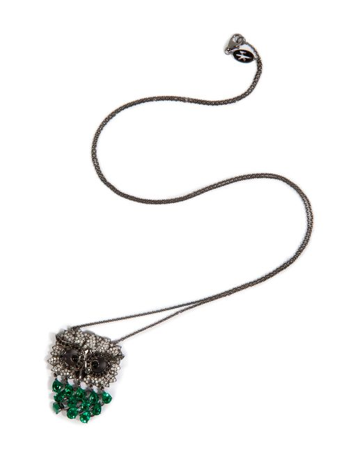 Nikos Koulis | Black Rhodium Owl Pendant Necklace | Lyst