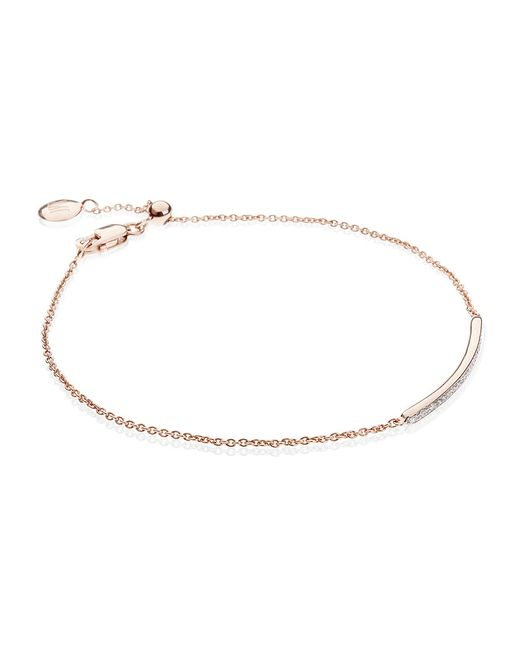 Monica Vinader | Pink Stellar Blue Diamond Mini Bar Bracelet | Lyst