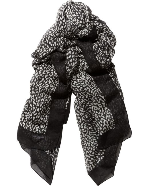 Saint Laurent | Black Etamine Cashmere and Silkblend Scarf | Lyst