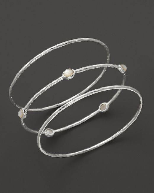 Ippolita | Metallic Sterling Silver Rock Candy 5-stone Bangle In Clear Quartz | Lyst