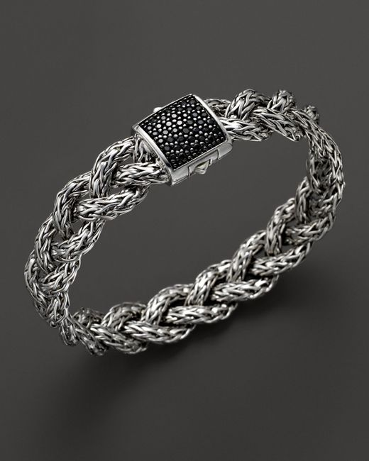 John Hardy | Classic Chain Silver Small Braided Bracelet With Black Sapphire | Lyst