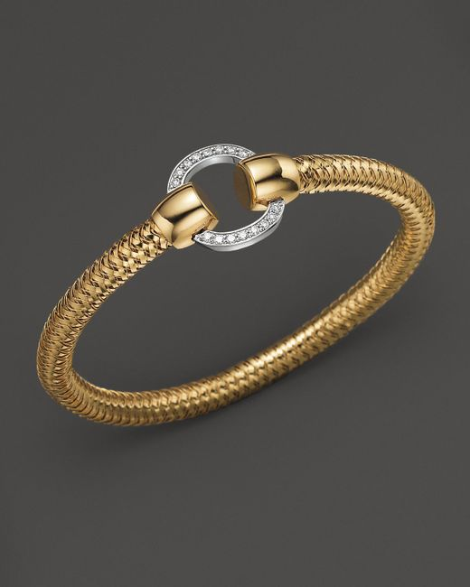 Roberto Coin | 18k Yellow And White Gold Primavera Diamond Bracelet | Lyst