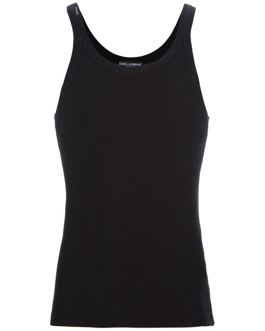 Dolce & Gabbana | Black Ribbed Jersey Tank Top for Men | Lyst