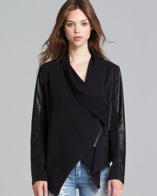 Blank Jacket Faux Leather Asymmetric Zip In Black