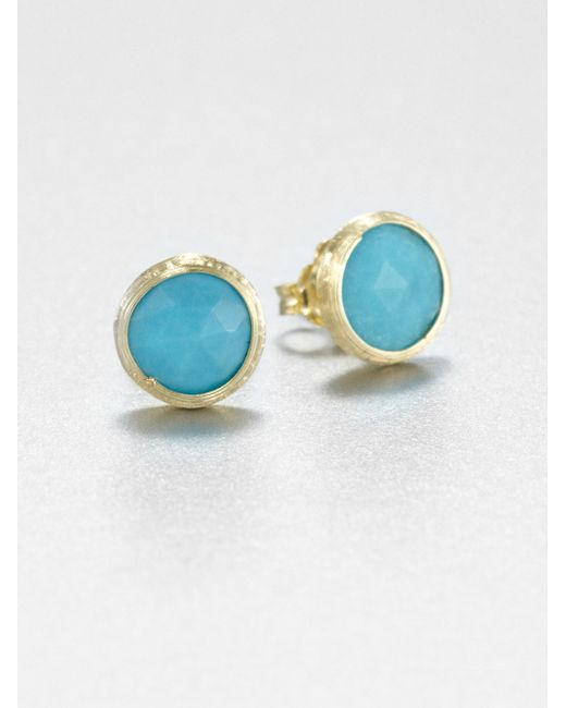 Marco Bicego | Metallic Jaipur Resort Turquoise & 18k Yellow Gold Stud Earrings | Lyst