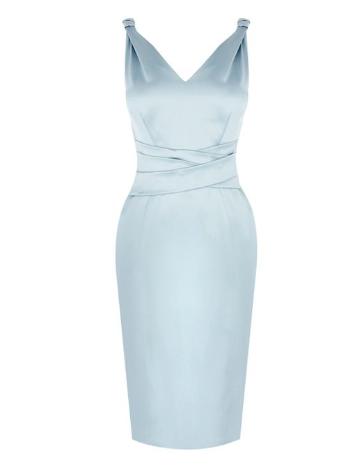 Karen Millen | Blue Bow Back Mamma Mia Dress | Lyst