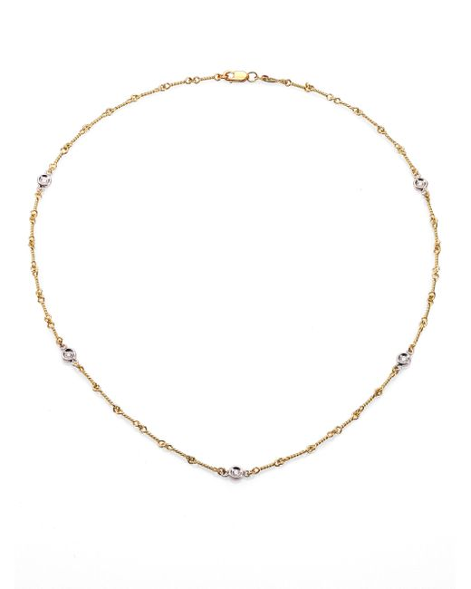 Roberto Coin | Metallic Diamond & 18k Yellow Gold Station Necklace/16 | Lyst