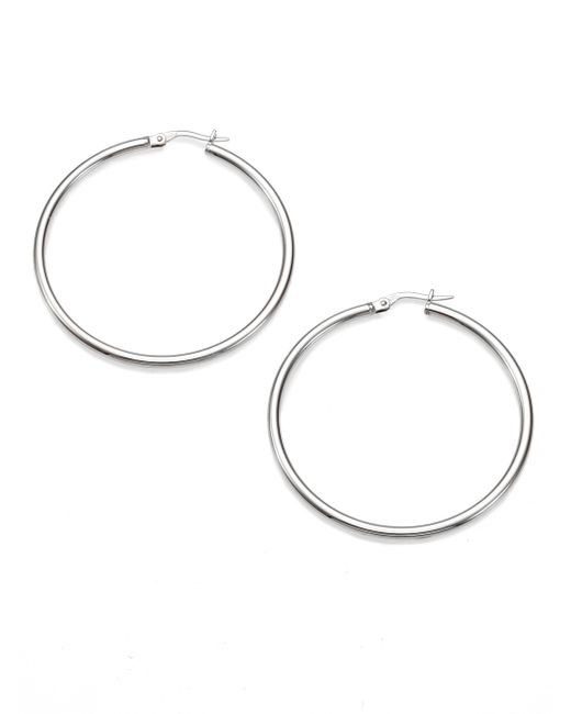 Roberto Coin | Metallic 18k White Gold Hoop Earrings/1.75 | Lyst
