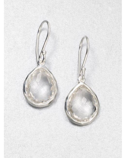 Ippolita   Metallic Clear Quartz Sterling Silver Teardrop Earrings   Lyst