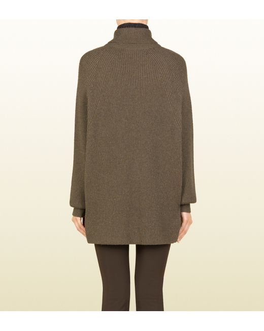 Gucci Light Brown Turtleneck Oversize Sweater in Brown | Lyst