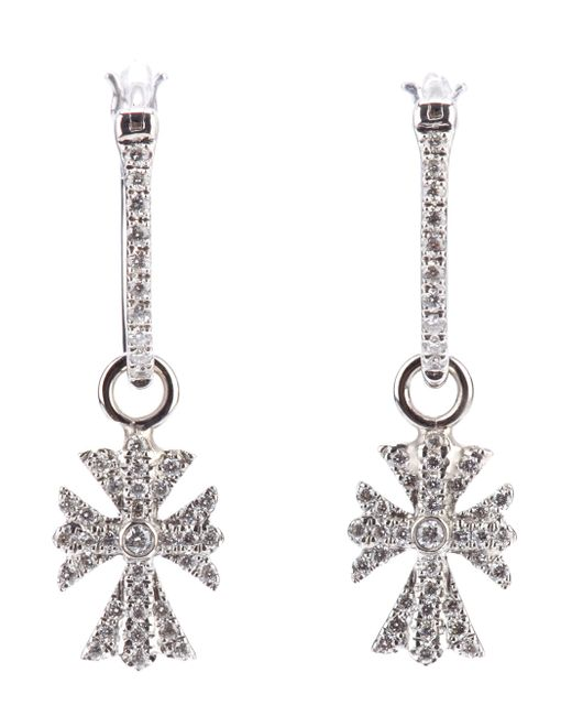 Elise Dray | White Diamond Cross Earrings | Lyst