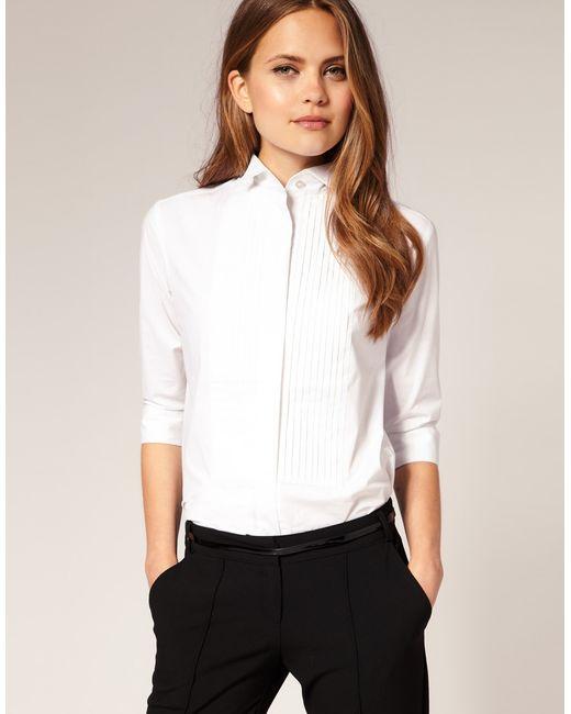 ASOS Collection | White Asos Pintuck Winged Collar Shirt | Lyst