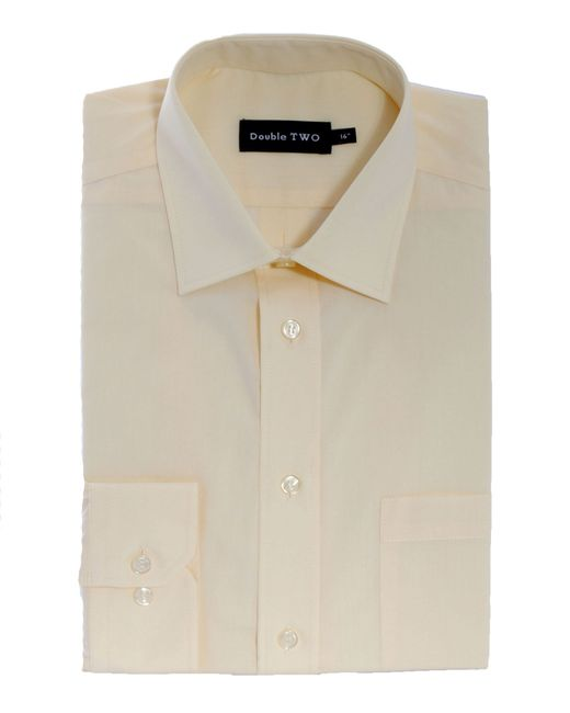 Double Two | Yellow Plain Poplin Long Sleeve Shirt for Men | Lyst