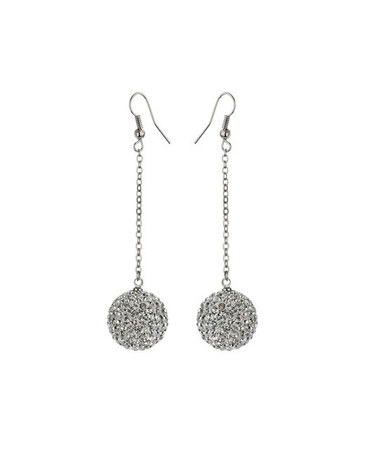 Mikey | White 18mm Crystal Drop Earrings | Lyst