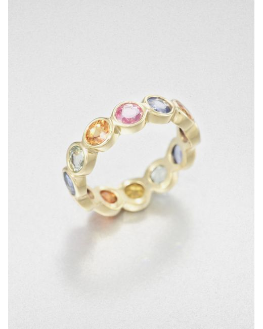 Temple St. Clair | Multicolor Classic Color Mixed Sapphire & 18k Yellow Gold Eternity Band Ring | Lyst