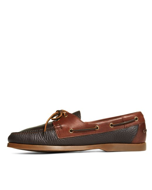 brothers contrasting leather boat shoes in brown