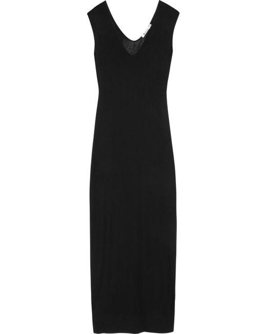 T By Alexander Wang | Black Muscle Jersey Maxi Dress | Lyst