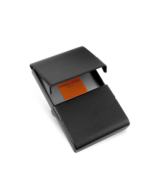 Giorgio fedon black business card holder in black for men for Black business card holder