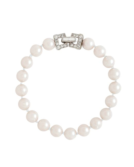 "Brooks Brothers | White 7.5"" 8mm Glass Pearl Bracelet With Deco Clasp 