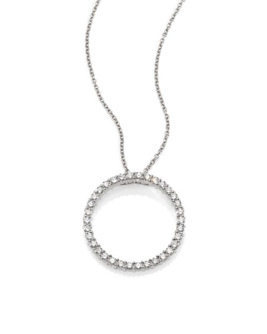 Roberto Coin | Tiny Treasures Diamond & 18k White Gold Large Circle Pendant Necklace | Lyst