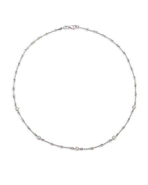 Roberto Coin | 18k White Gold & Diamond Station Necklace/18 | Lyst