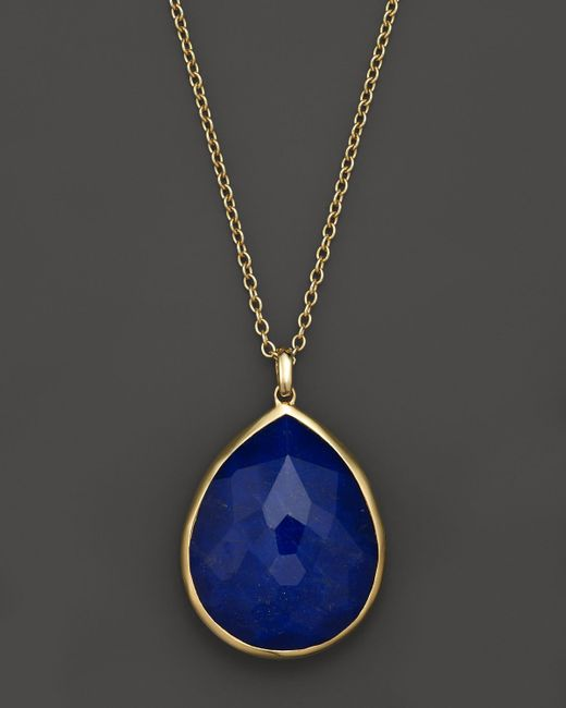 "Ippolita | Metallic 18K Gold Large Teardrop Lapis Doublet Pendant Necklace, 16"" | Lyst"