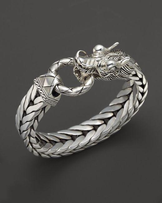 John Hardy Men S Naga Silver Dragon Head Bracelet On