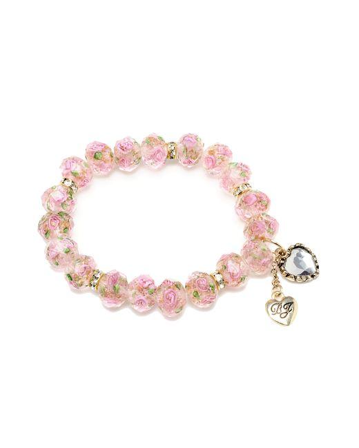 Betsey Johnson | Pink Flower Beaded Stretch Bracelet | Lyst
