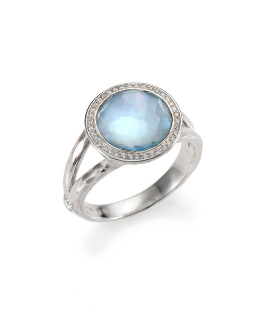 Ippolita | Metallic Stella Swiss Blue Topaz, Mother-of-pearl, Diamond & Sterling Silver Ring | Lyst