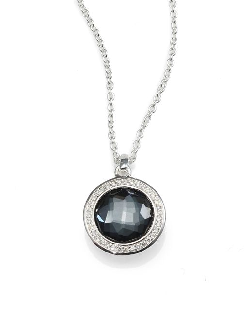 Ippolita   Gray Diamond, Gemstone Doublet & Sterling Silver Round Necklace   Lyst