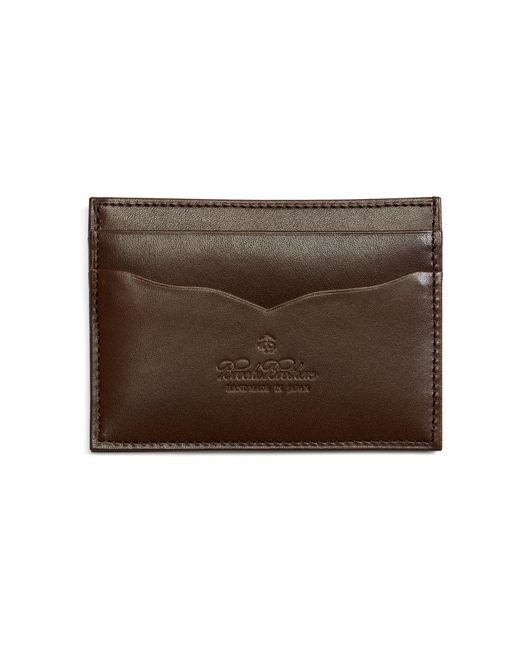 Brooks Brothers | Brown Saffiano Leather Card Case for Men | Lyst