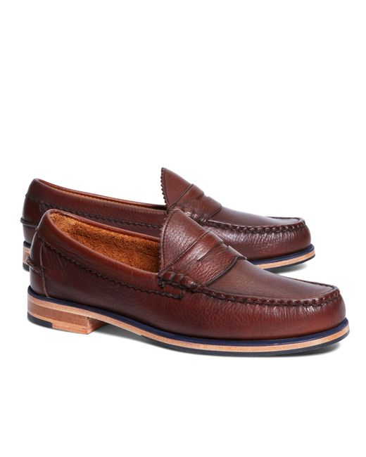 Brooks Brothers   Brown Allen Edmonds Beef Roll Pebble Penny Loafers for Men   Lyst